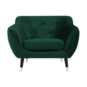 Amelie zöld, fotel fekete lábakkal - Mazzini Sofas