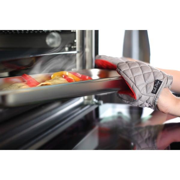 Hot Touch szürkés-piros pamut edényfogó szilikonnal - Vialli Design