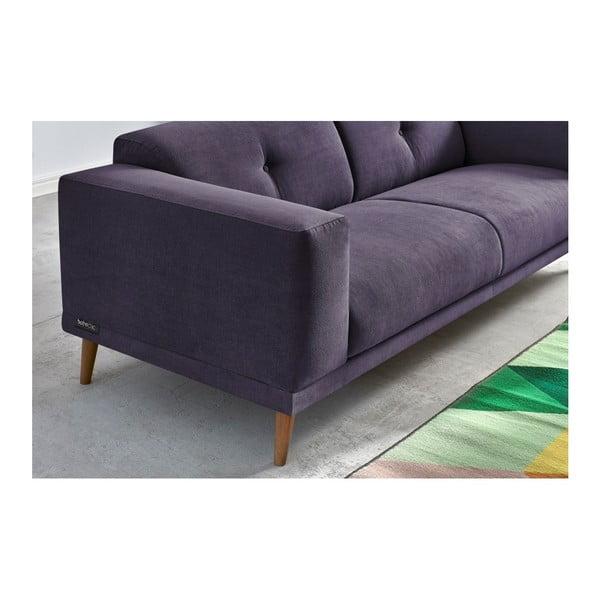 Luna pasztell-lila háromszemélyes kanapé lábtartóval - Bobochic Paris