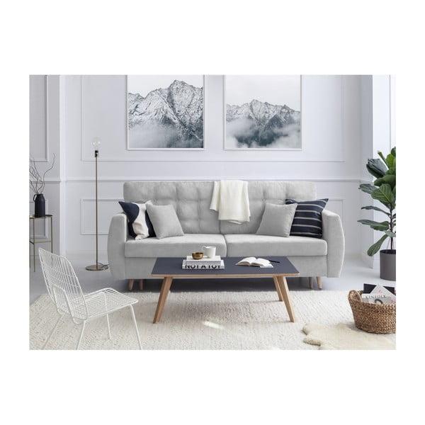 Amsterdam háromszemélyes ezüstszínű kinyitható kanapé tárolóval, 231 x 98 x 95 cm - Cosmopolitan design