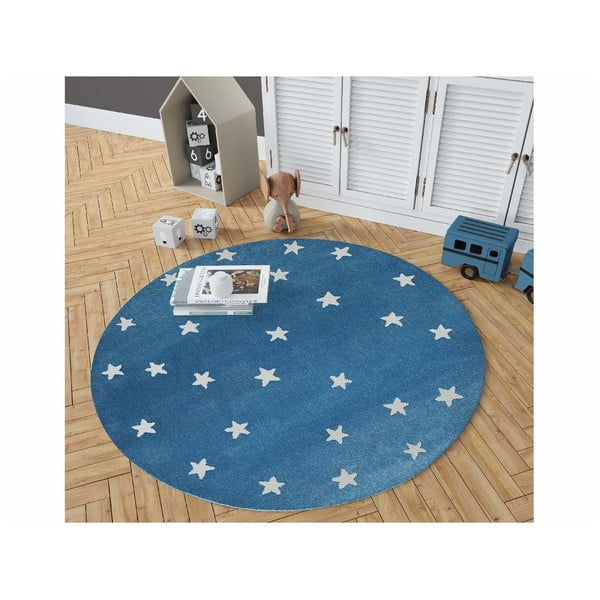 Azure kék, kerek szőnyeg csillagmintával, ø 100 cm - KICOTI