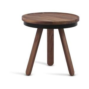 Batea S barna tölgyfa dohányzóasztal fekete részletekkel és tálcával - Woodendot