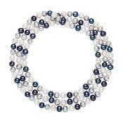 Chakra Pearls fehér-kék gyöngy nyaklánc, 90 cm - The Pacific Pearl Company