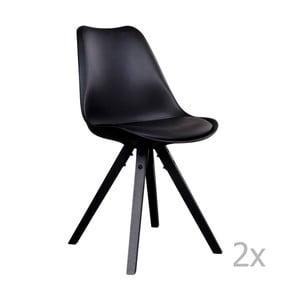 Bergen fekete székkészlet fekete lábakkal, 2 darab - House Nordic