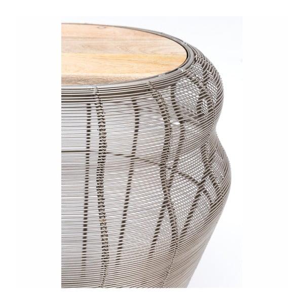 Chris ezüstszínű tárolóasztal natúr fa asztallappal, ⌀ 38 cm - WOOX LIVING