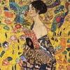 Gustav Klimt - Lady With Fan kép másolat, 70 x 70 - Gustav Klimt