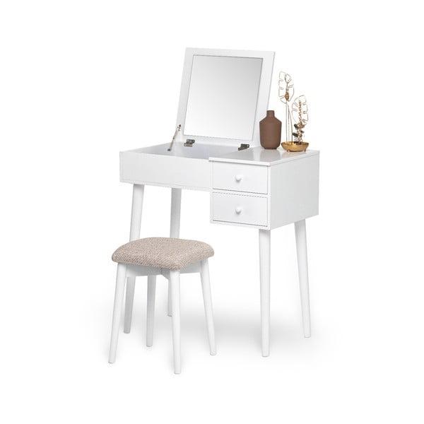 Beauty fehér fésülködőasztal tükörrel, ékszertartóval és 2 fiókkal - Chez Ro