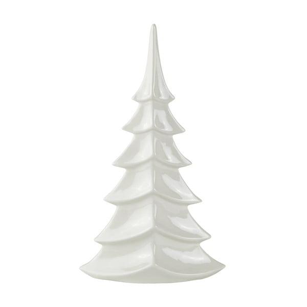 Dekorációs karácsonyfa fehér kerámiából, magasság 35 cm - KJ Collection