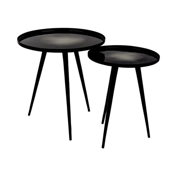 Flow fekete kisasztal szett, 2 darab - Zuiver
