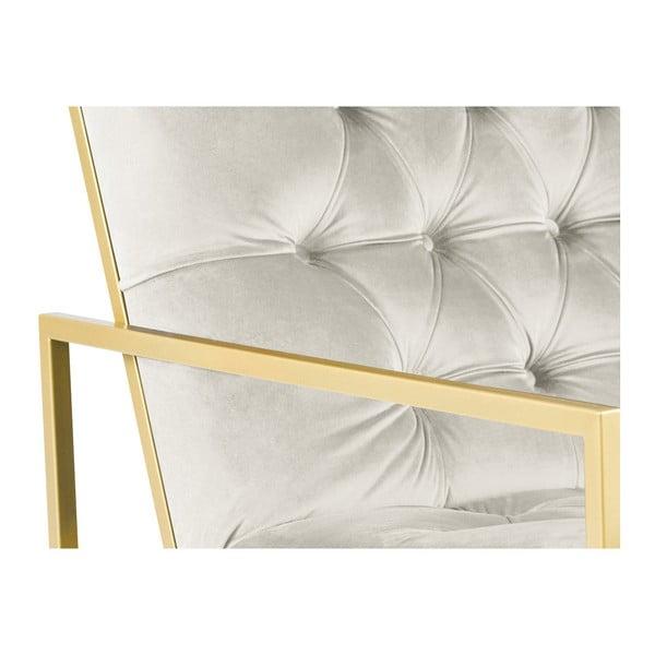 Bono krémszínű fotel aranyszínű konstrukcióval - Mazzini Sofas