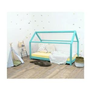 Tyrkysová dětská postel bez bočnic ze smrkového dřeva Benlemi Tery, 80 x 160 cm
