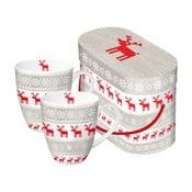 Magic Christmas Taupe 2 részes porcelán bögre szett karácsonyi motívummal, díszdobozban, 350 ml - PPD
