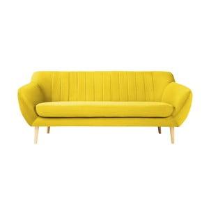 Sardaigne sárga 3 személyes kanapé világos lábakkal - Mazzini Sofas