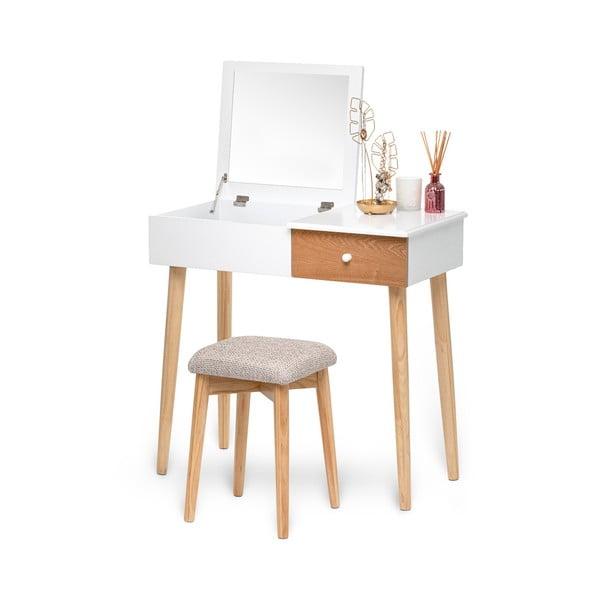 Beauty fehér fésülködőasztal tükörrel, ékszertartóval és ülőkével - Chez Ro