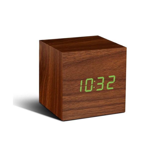 Cube Click Clock sötétbarna ébresztőóra zöld LED kijelzővel - Gingko