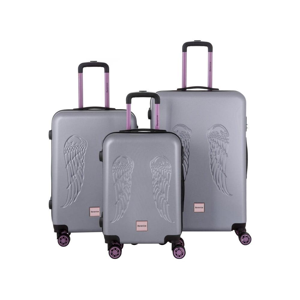 599ff46d0600 Wingy 3 db-os szürke bőrönd szett - Berenice   Bonami
