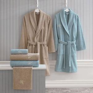 Family Bath női és férfi fürdőszobai textília szett, bézs és kék színben