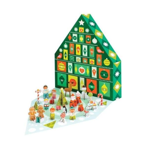 Tree ádventi naptár 24 figurával újrahasznosított papírból, növényi festékkel - Petit collage