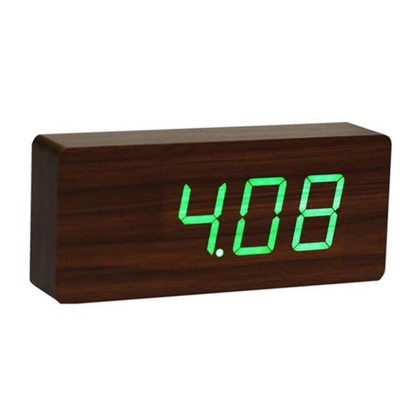 Slab Click Clock sötétbarna ébresztőóra, zöld LED kijelzővel - Gingko
