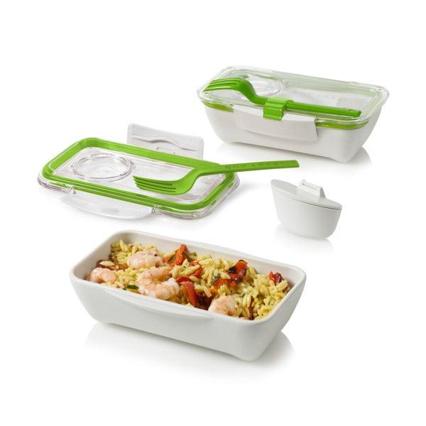 Bento fehér-zöld ételhordó doboz - Black + Blum