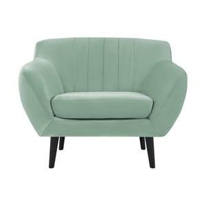 Toscane mentol zöld fotel fekete lábakkal - Mazzini Sofas