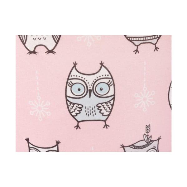 Kisbagoly mintás rózsaszín gyerek puff, 40 x 40 cm - KICOTI