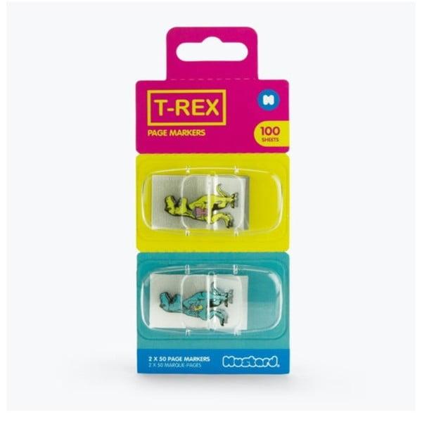 T-Rex öntapadós könyvjelzők - Just Mustard