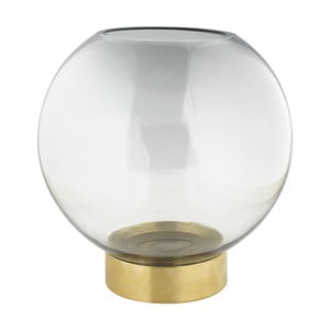 Szürke üveg váza fém talpazattal, magasság 20 cm - Green Gate