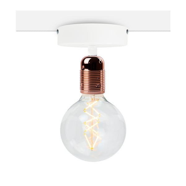Uno Basic fehér mennyezeti lámpa, rézszínű foglalattal - Bulb Attack