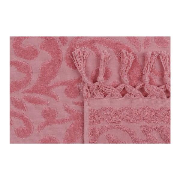 Bohème 2 darabos rózsaszín törölköző szett, 90 x 50 cm - Madame Coco