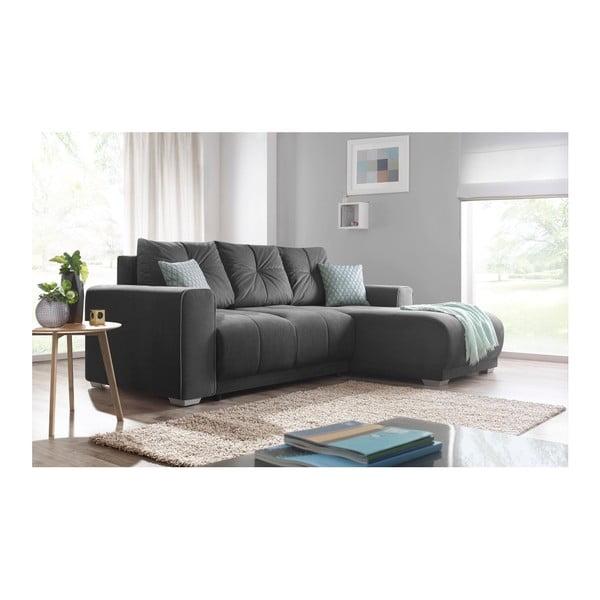 Lisbona sötétszürke kinyitható kanapé, jobb sarok - Bobochic Paris
