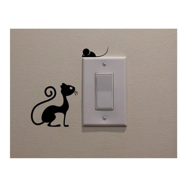 Cat & Mouse dekorációs matrica, magassága 11 cm