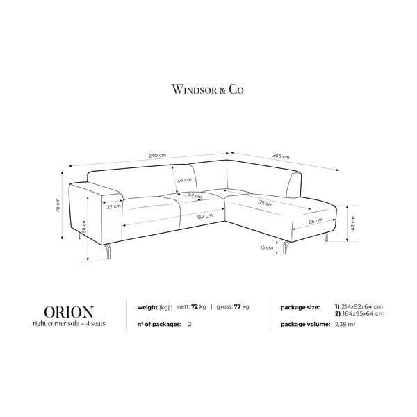 Orion sötétszürke jobb oldali sarokkanapé - Windsor & Co Sofas