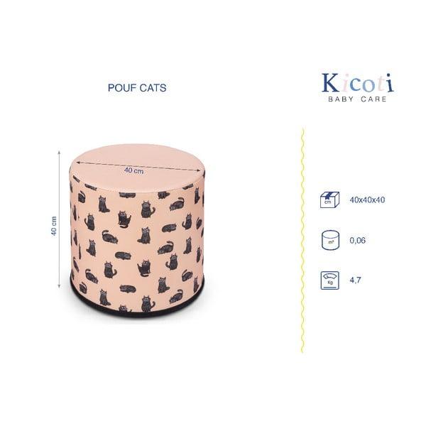 Macska mintás gyerek puff, 40 x 40 cm - KICOTI
