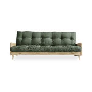 Indie Natural/Olive Green zöld kinyitható kanapé - Karup Design