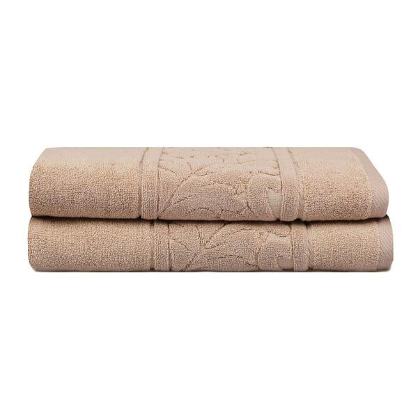 Akdeniz 2 db-os barna színű pamut törölköző szett, 70 x 140 cm