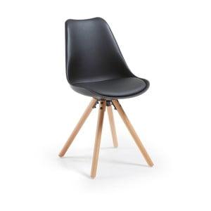 Lars fekete szék fa lábakkal - La Forma