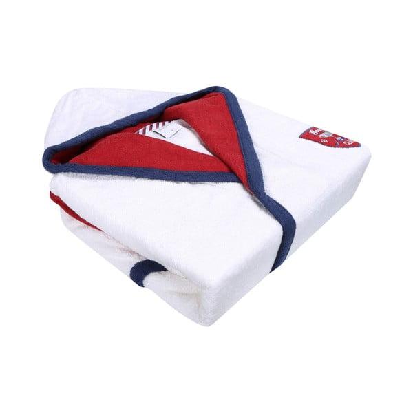 Golfie fehér fürdőköpeny piros-kék díszítéssel, méret: S