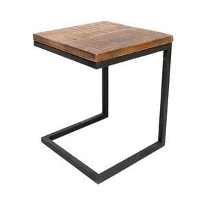 Box fekete tárolóasztal mangófa asztallappal - LABEL51