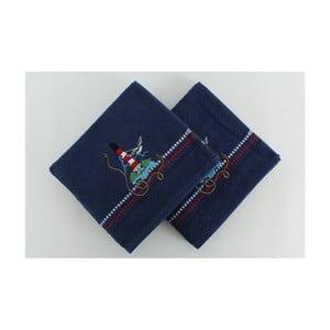 Marina Denis 2 darab sötétkék pamut törölköző, 50 x 90 cm