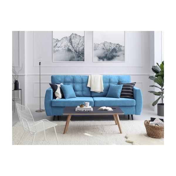 Rotterdam háromszemélyes kék kinyitható kanapé tárolóval, 231 x 98 x 95 cm - Cosmopolitan design