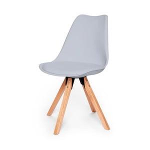 Šedá židle s podnožím z bukového dřeva loomi.design Eco
