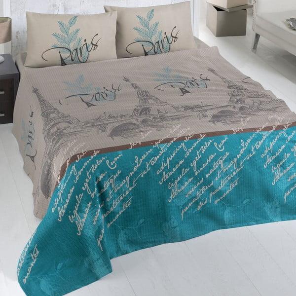 Paris barna-kék pamut kétszemélyes ágytakaró, 200 x 230 cm