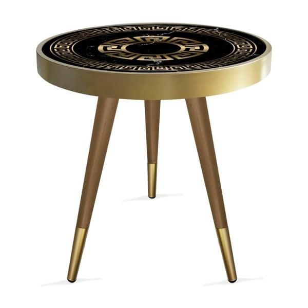 Rassino Marble Black And Gold Circle tárolóasztal, ⌀ 45 cm