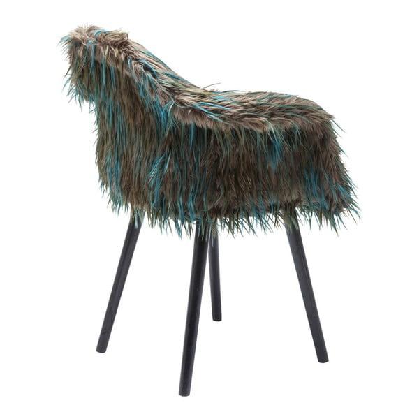 Yeti kékes-barna étkezőszék, műszőrme huzattal - Kare Design