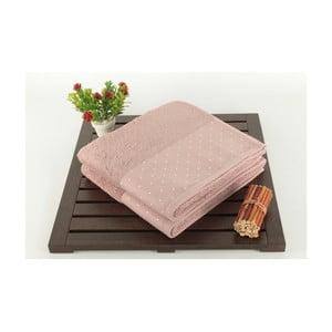 Patricia 2 darab púder-rózsaszín pamut törölköző, 50 x 90 cm