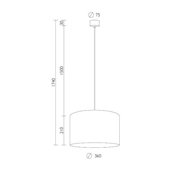 Mika fekete függőlámpa ezüstszínű részletekkel, ∅ 36 cm - Sotto Luce