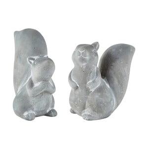Squirrel szürke cement dekoráció, 2 db - KJ Collection