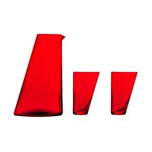 Ponza kézzel készített piros kancsó, 2 pohárral - Surdic