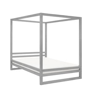 Šedá dřevěná dvoulůžková postel Benlemi Baldee, 200x200cm